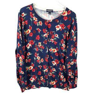 Land End Womens Floral Cardigan Plus Size 1X